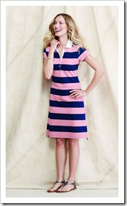 Striped Stretch Piqué Polo Dress